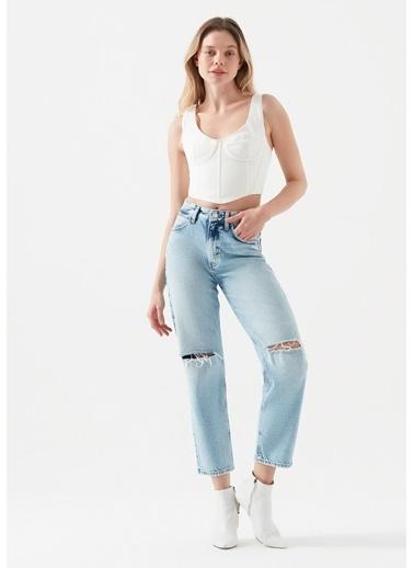 Mavi Berlın Yırtık Detaylı Jean Pantolon Mavi